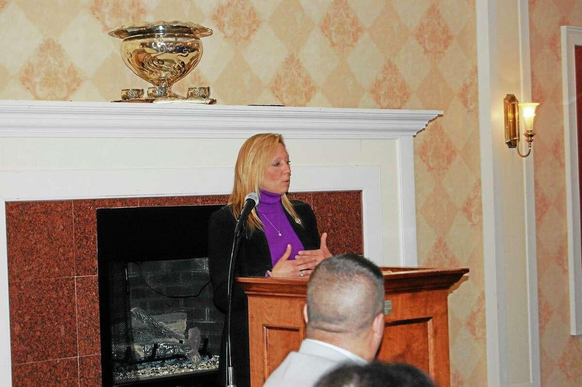 Rep. Michelle Cook, D-Torrington, speaks at Litchfield County Board of Realtors Legislative Night Jan. 27.