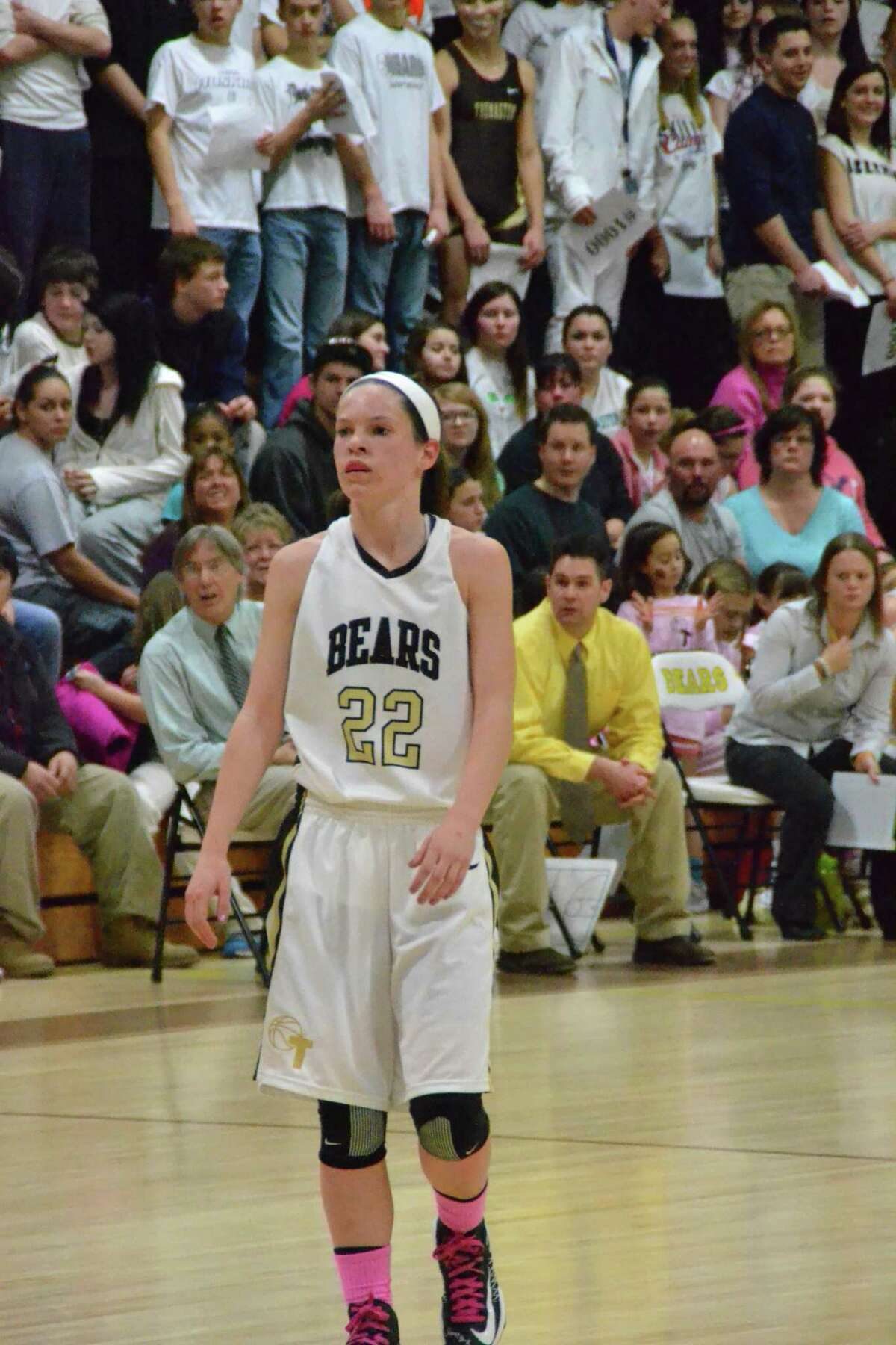 Thomaston's Maggie Eberhardt, scored a game-high 28 points in the win for the Golden Bears. Pete Paguaga/Register Citizen.