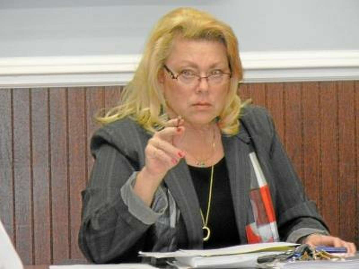 New Milford Mayor Patricia Murphy presented her recommended budget for fiscal 2013-14 Tuesday night at a joint budget meeting of the Town Council and Board of Finance. Photograph by Alice Tessier.