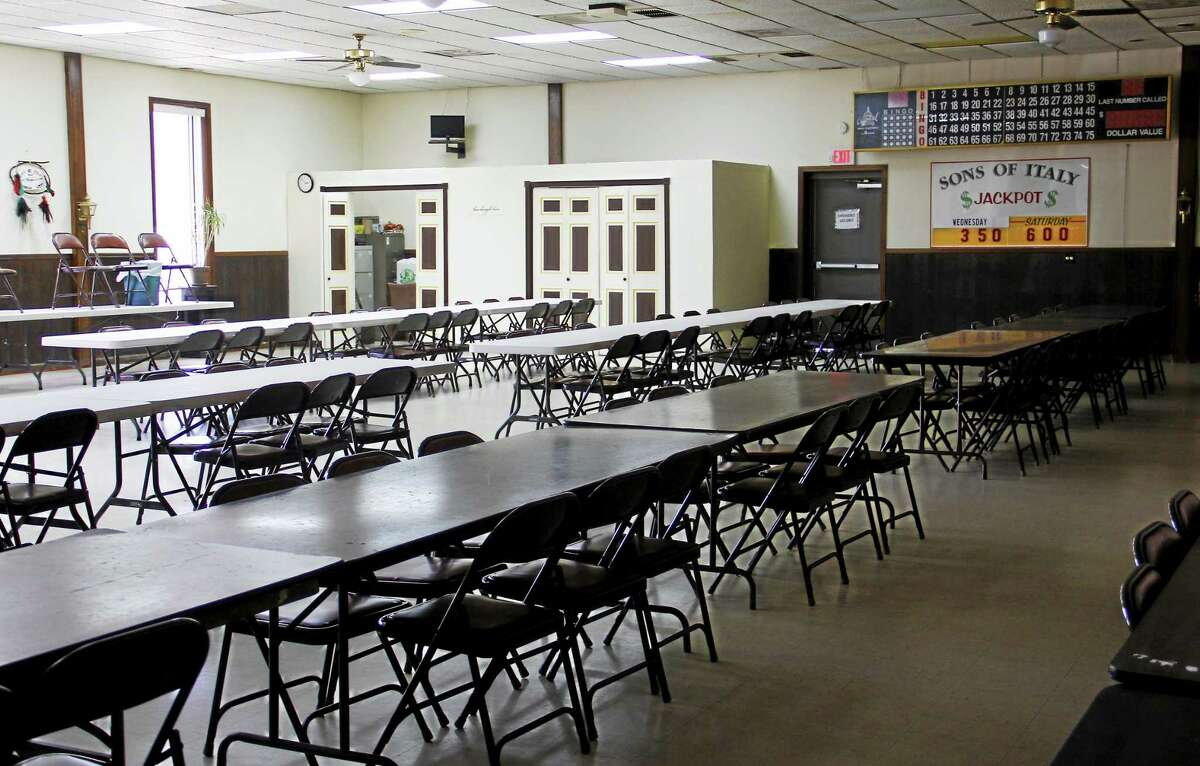 Inside the bingo hall of the Order of the Sons of Italy building Monday, Sept. 22, in Torrington.