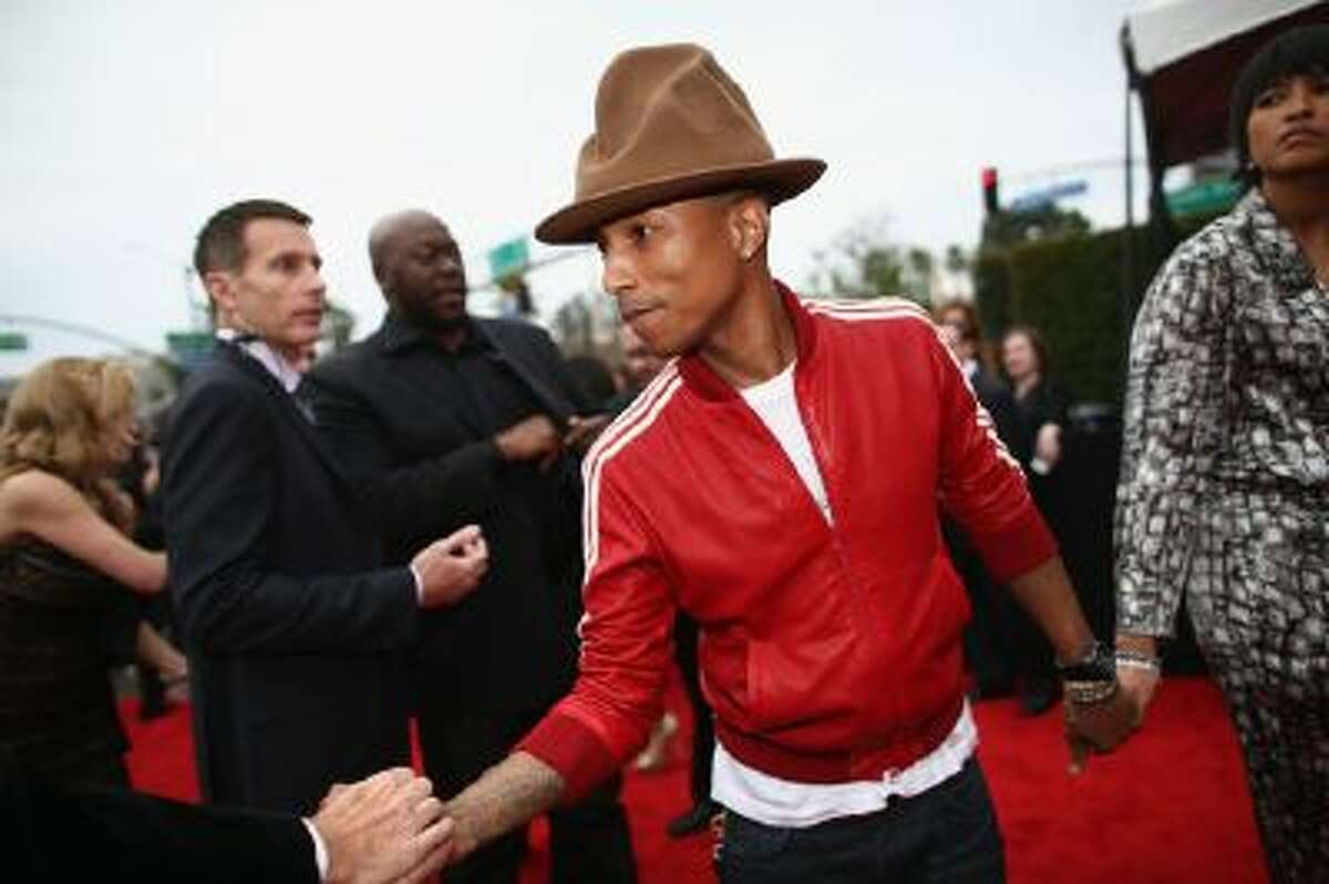Pharrell Williams on the red carpet of the Grammy Awards at Staples Center on Jan. 26, 2014 in Los Angeles.