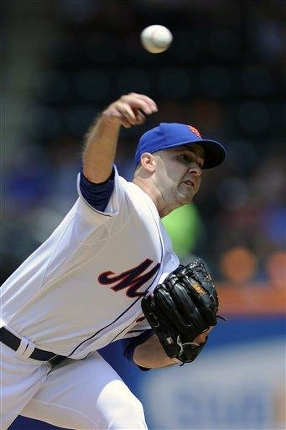 New York Mets pitcher Dillon Gee delivers the ball to the Washington Nationals during the first inning of a baseball game Saturday, June 29, 2013, in New York. (AP Photo/Bill Kostroun)
