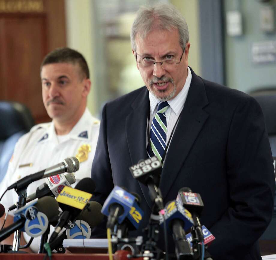 Larry Ragonese, New Jersey Department of Environmental Protection spokesperson, answers questions during a press conference at the West Milford Town Hall Monday, Sept. 22, 2014, regarding a fatal bear attack that occurred at the Apshawa Preserve Sunday afternoon that took the life of 22-year-old Darsh Patel of Edison. Photo: (AP Photo/The New Jersey Herald, Daniel Freel) / The New Jersey Herald
