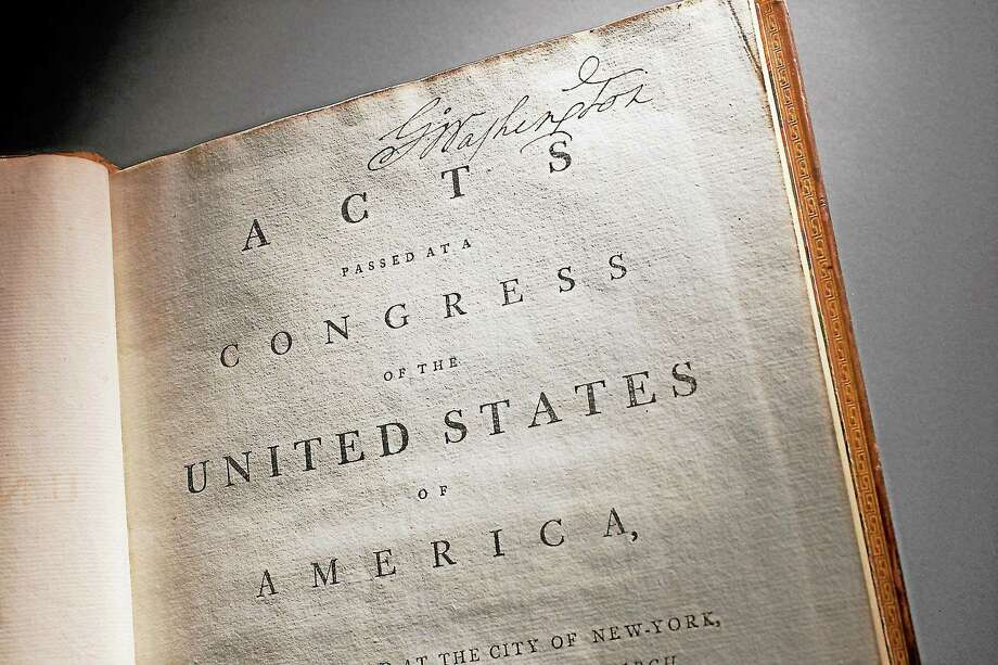 This undated handout photo provided by George Washington's Mount Vernon Estate & Gardens, shows George Washington's annotated copy of the Constitution and Bill of Rights.  (AP Photo/Mount Vernon Ladies Association, Mark Finkenstaedt) Photo: AP / AP2012