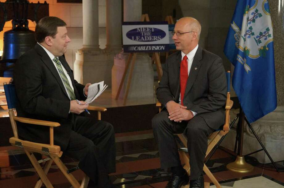 State Senator Clark Chapin (R-30), right, speaks with host Jeff Zeiner, left, during a taping of Cablevision's Meet the Leaders program. Submitted photo.
