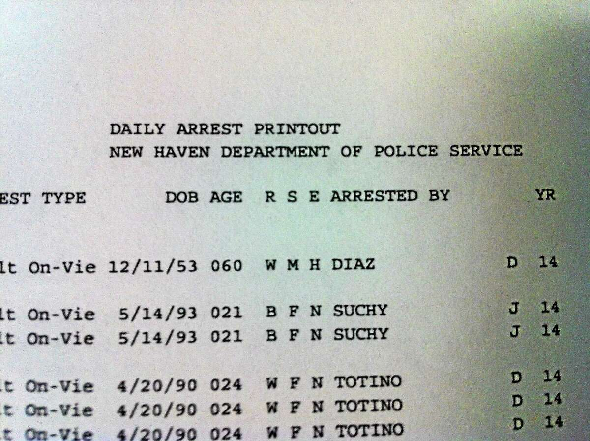 Piece of an arrest log in New Haven.