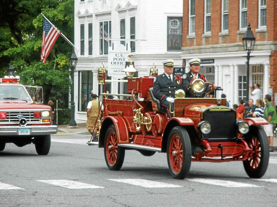 The Firefighers Parade was the final celebration that brought the annual Firefighter's Association Convention to a close Sunday in Litchfield. Photo: Stephen Underwood - Special To The Register Citizen