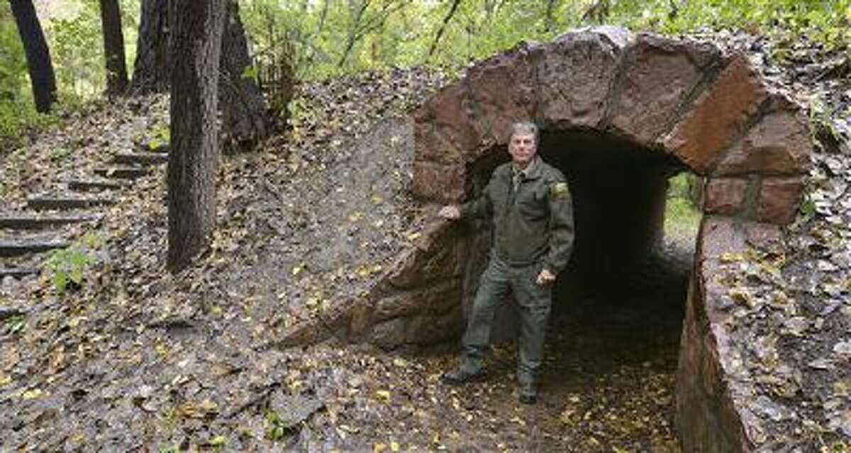 Ranger Kevin Pape poses at Stone State Park in Sioux City, Iowa. Many of the trails at the rural Sioux City state park were built by the Civilian Conservation Corps. The CCC was a New Deal program designed to promote conservation and provide employment to men out of work because of the Great Depression.