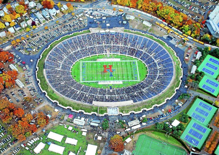 The Yale Bowl is photographed from an airplane during the first half of The Game between Yale and Harvard on Nov. 17, 2007. Photo: Arnold Gold — Register File Photo (Ev Cassagneres, Pilot)