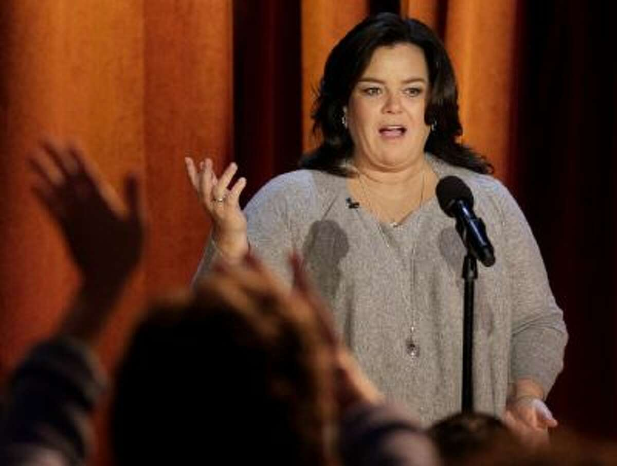 """In this Oct. 6, 2011 photo, Rosie O'Donnell talks to the audience during a taping of her show in Chicago. """"The View"""" announced O'Donnell will be a guest on the daytime gabfest on Feb. 7."""