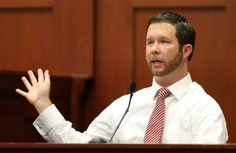 Jonathan Good, a neighbor who witnessed part of the confrontation between George Zimmerman and Trayvon Martin, testifies during the 15th day of Zimmerman's trial in Seminole circuit court,  in Sanford, Fla., Friday, June 28, 2013. Zimmerman has been charged with second-degree murder for the 2012 shooting death of Trayvon Martin.(AP Photo/Orlando Sentinel, Joe Burbank, Pool) Photo: AP / Pool Orlando Sentinel