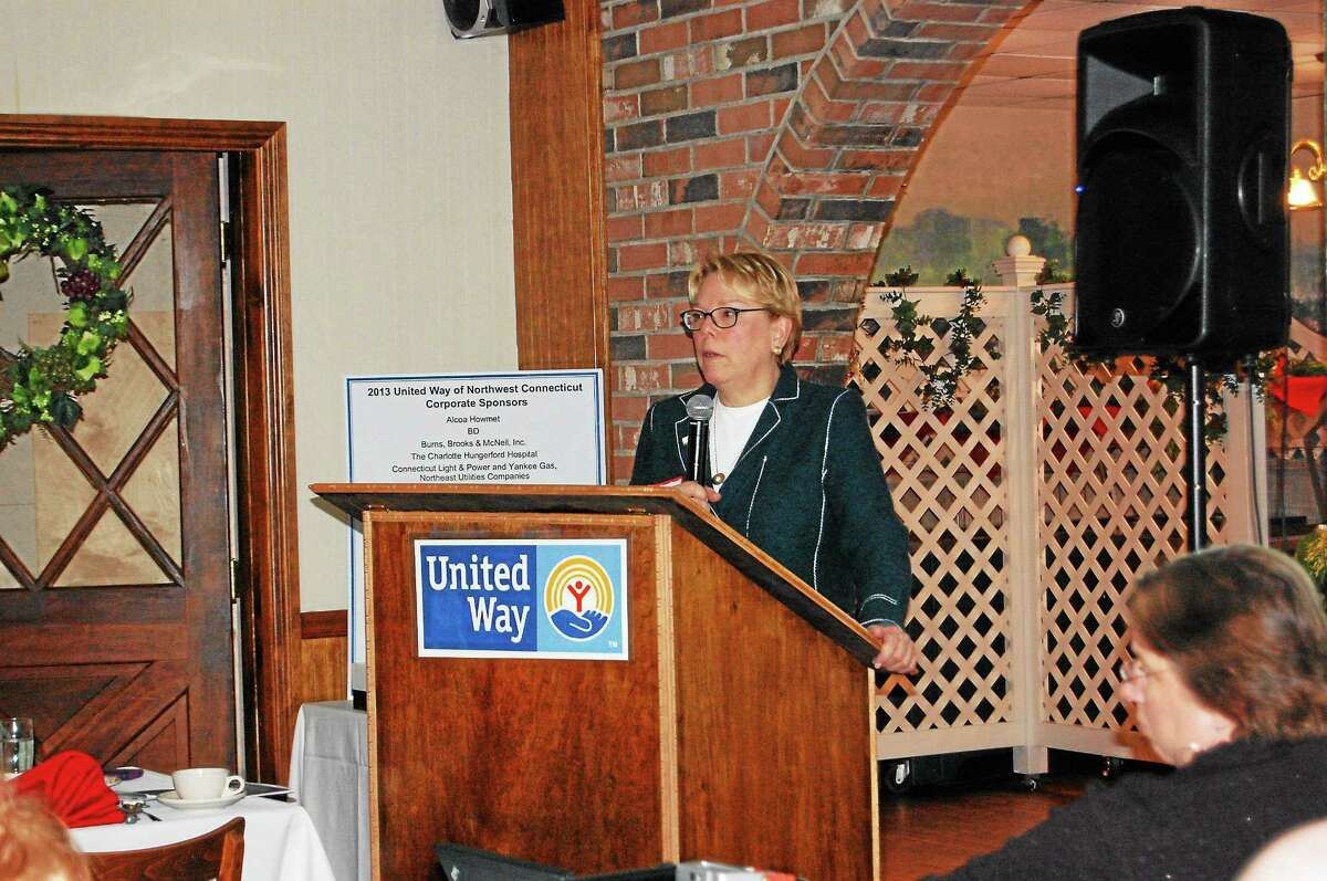 Lucy Nolan, executive director of End Hunger CT, speaks during the annual meeting of the United Way of Northwest Connecticut Monday.