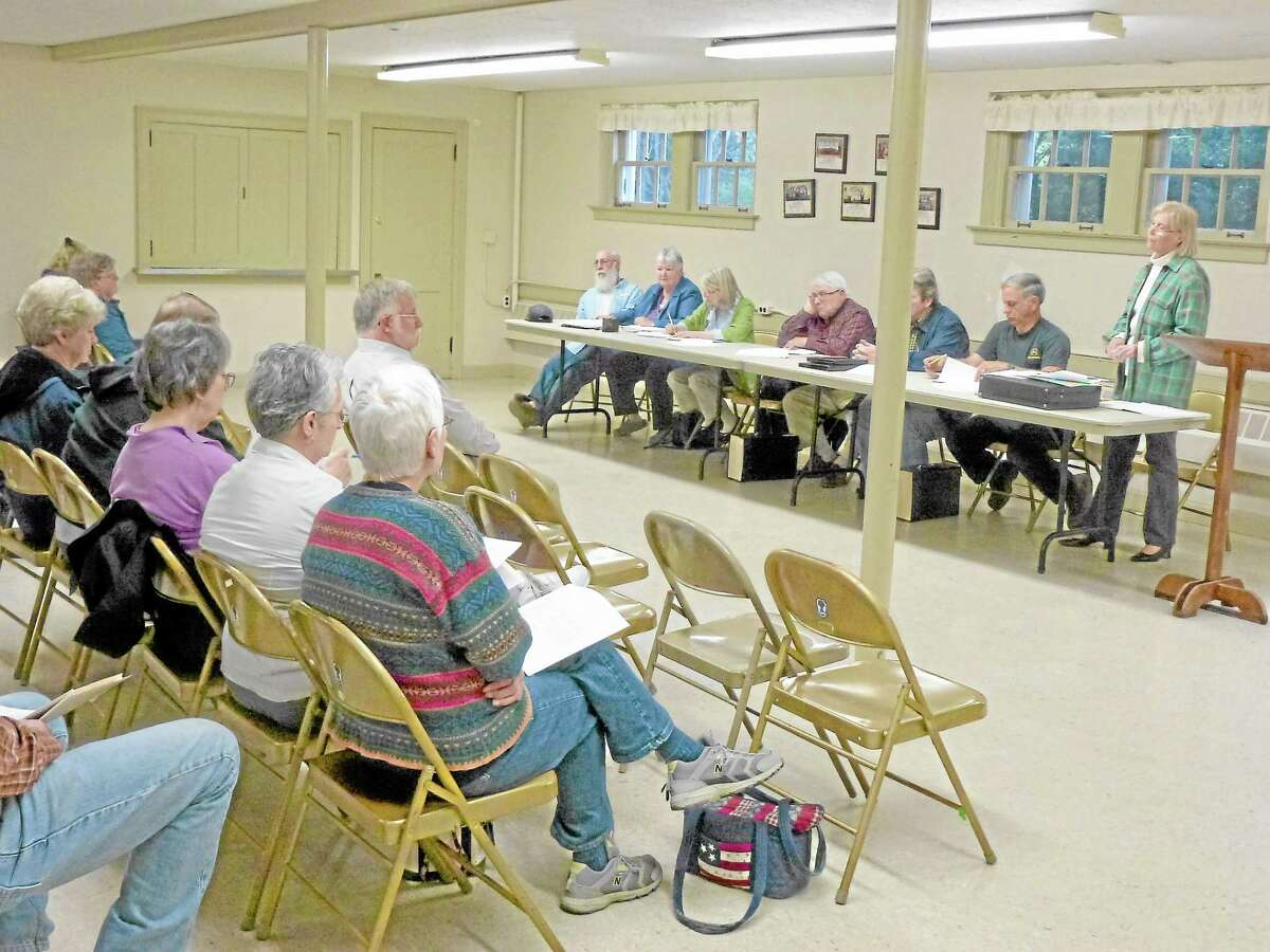 Former Chair Constance Trolle and the Board of Finance presented a proposed budget to Morris citizens in May 2013.