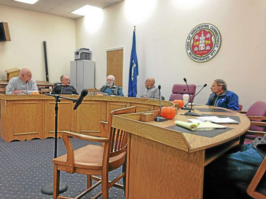 David Villa, left, heads the special meeting of the Winsted Zoning Board of Appeals on Wednesday, Oct. 30. Photo: Mercy Quaye - Register Citizen