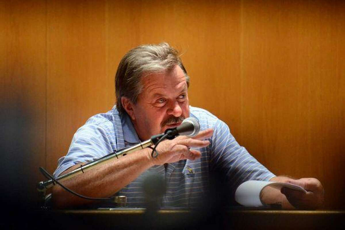 Rocky Richter speaks in court during the Domenic Badaracco trial. Pool photo by Connecticut Post.