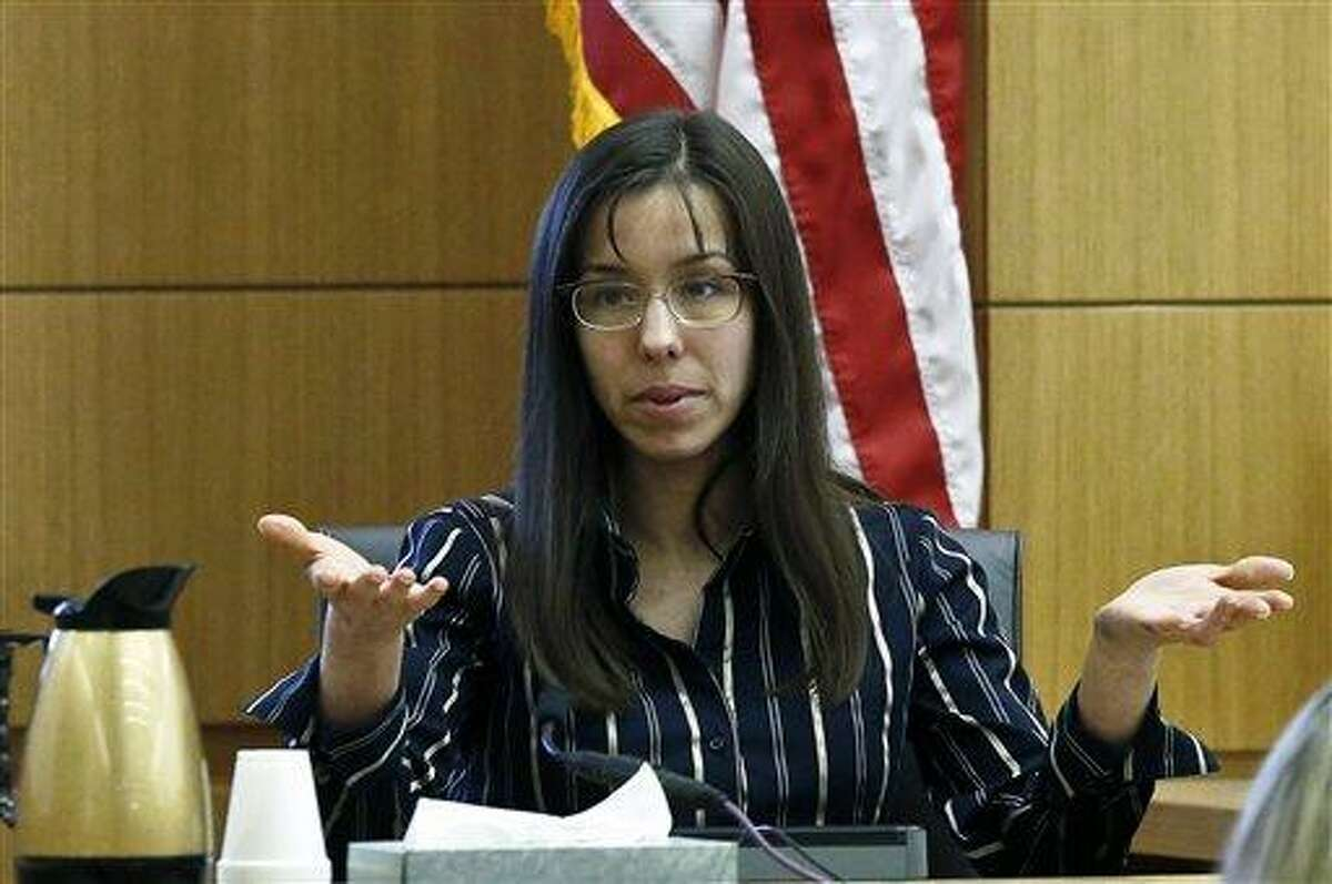 Jodi Arias answers a question from one of her attorneys in Maricopa County Superior Court during her murder trial in Phoenix. Jodi Arias has been on the witness stand for more than a week, recounting one intimate detail of her sex life after another. But she still hasn?t mentioned the killing of her boyfriend in 2008. AP Photo/Ross D. Franklin