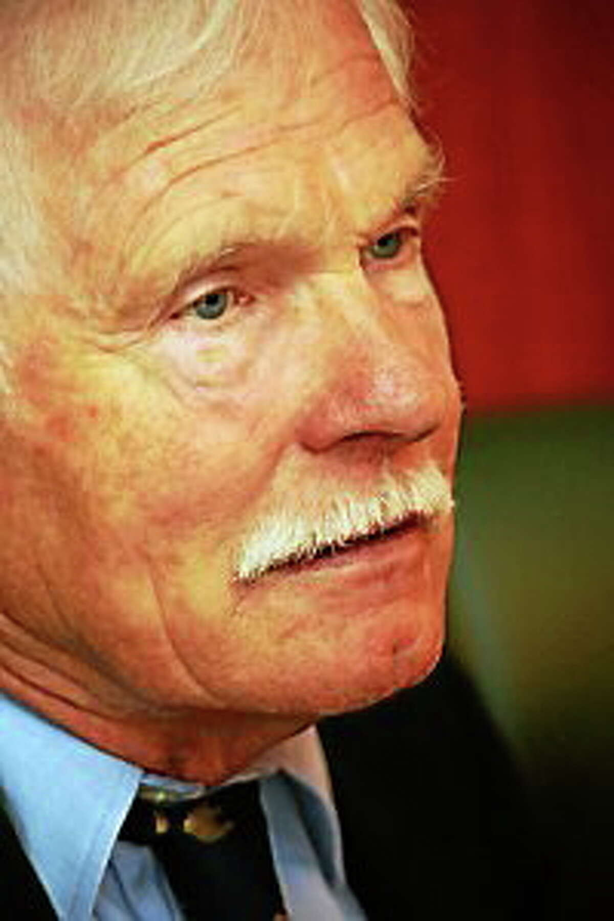 Ted Turner on Thursday, May 22, at his new Ted's Montana Grill in Hartford. Connecticut Magazine photo.