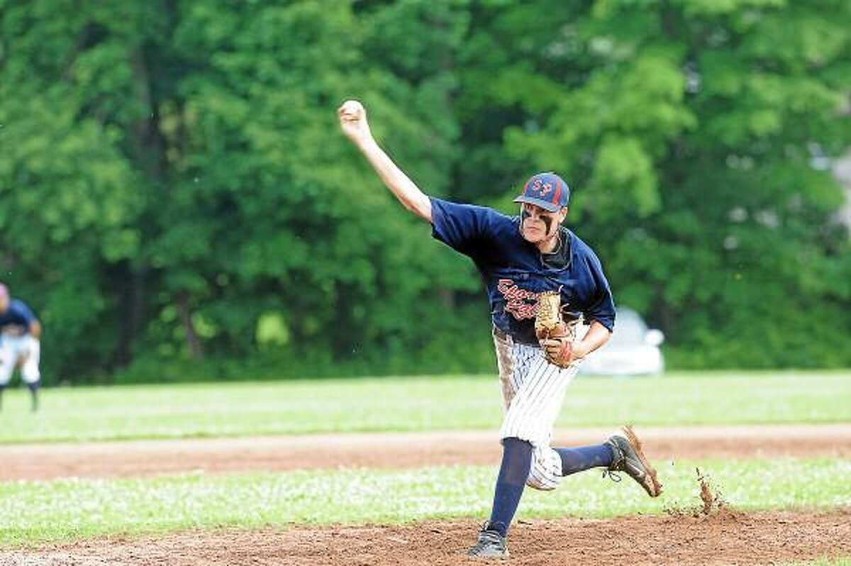 Torrington's Cody Lemieux gave up just two hits, with eight strikeouts, a walk and a hit batter in his four innings on the mound Friday evening at Litchfield's Community Field. Photo by Laurie Gaboardi/Register Citizen