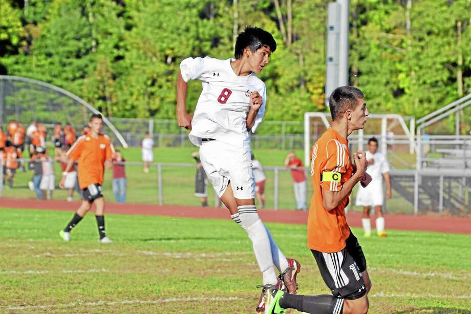 Torrington's Kevin Vaca heads the ball on net against Watertown earlier this season. Vaca missed all but the first three minutes against Naugatuck earlier this season before leaving the game with an injury. Vaca will be an important part of the Red Raiders attack this time around against Naugatuck. Photo: Pete Paguaga — Register Citizen