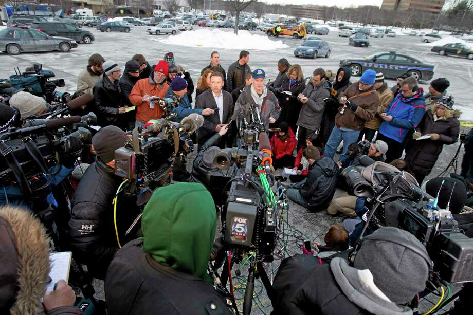 Howard County police chief William McMahon speaks to reporters at the parking lot of the  Mall in Columbia, Md., after a shooting at the mall on Saturday Jan. 25, 2014 in Howard County, Md. Police in Maryland say three people died Saturday in a shooting at a mall in suburban Baltimore, including the presumed gunman. ( AP Photo/Jose Luis Magana) Photo: AP / FR159526 AP