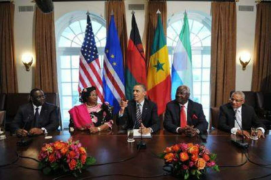 President Barack Obama meets with African leaders on March 28 in the White House.