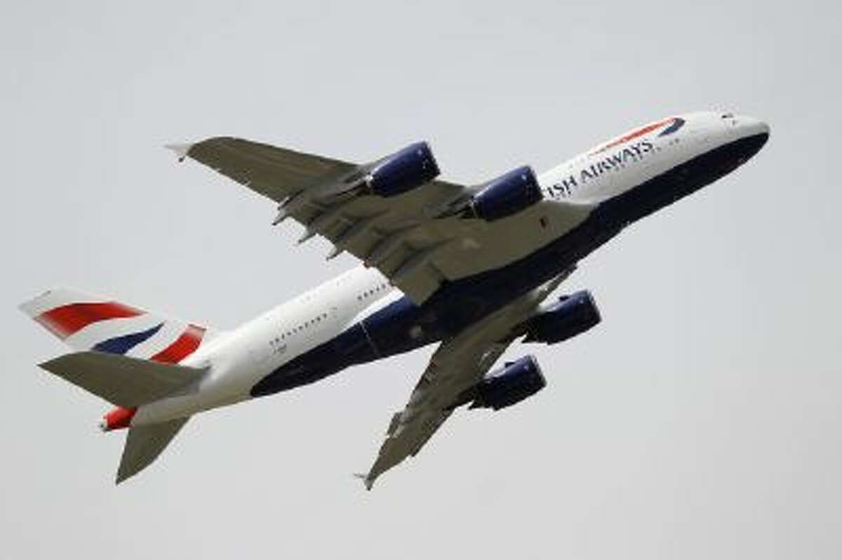 A British Airways Airbus A380 jet liner takes off at the Le Bourget airport, north of Paris, on June 18.