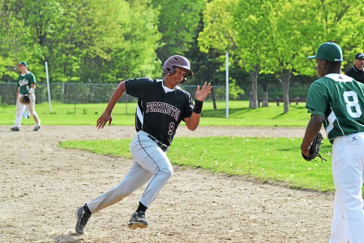 Torrington's Victor Rodriguez rounds third and scores on Ben Thompson's sixth inning triple.