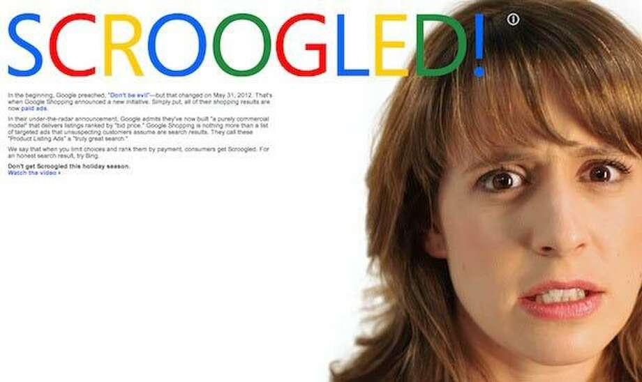 "An image from Microsoft's ""Scroogled"" ad campaign against Google."