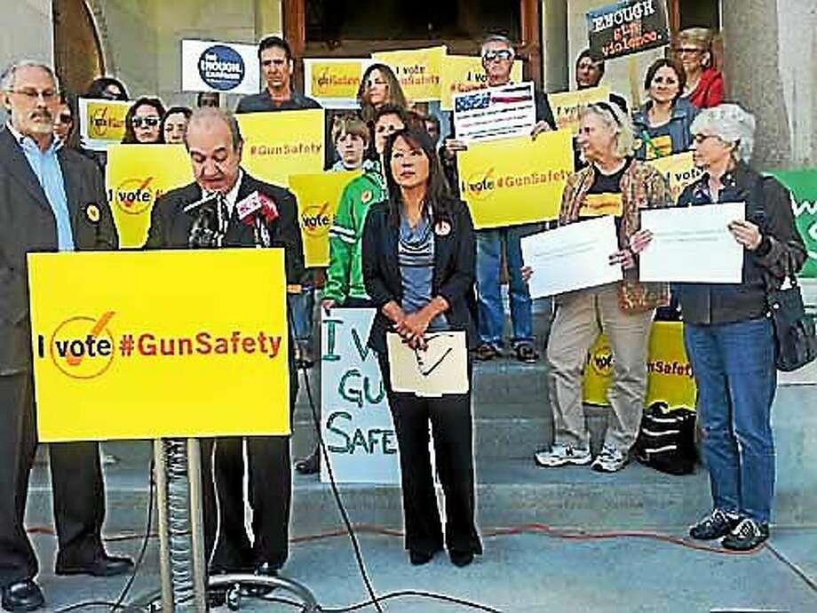 Ron Pinciaro, chairman of CT Voters for Gun Safety, announces the endorsements Thursday. Photo: (Ellen R. Delisio — Ctnewsjunkie.com)