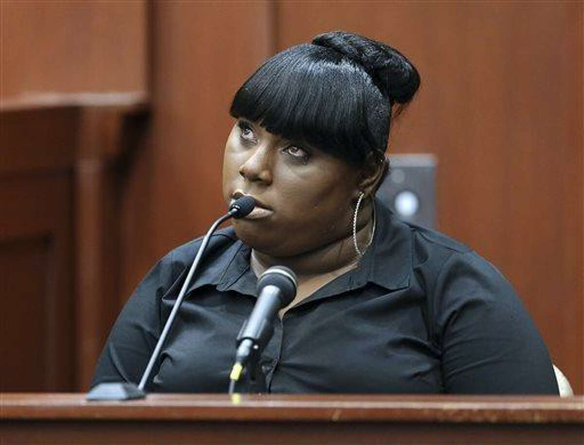 Rachel Jeantel, the witness that was on the phone with Trayvon Martin just before he died, gives her testimony during George Zimmerman's trial in Seminole circuit court in Sanford, Fla., Wednesday, June 26, 2013. Zimmerman has been charged with second-degree murder for the 2012 shooting death of Trayvon Martin.(AP Photo/Orlando Sentinel, Jacob Langston, Pool)