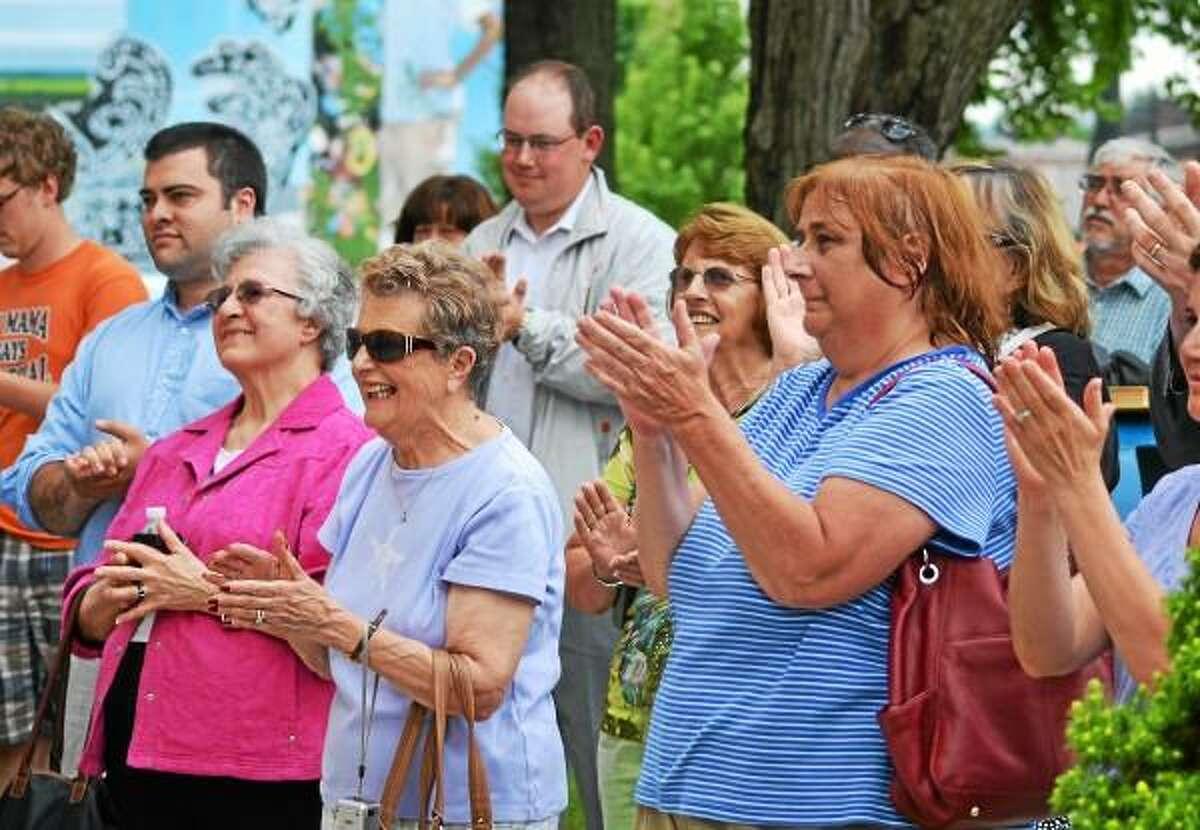 Supporters react to Republican Elinor Carbone's announcement on Thursday afternoon that she will be running for mayor of Torrington. (Tom Caprood-Register Citizen)