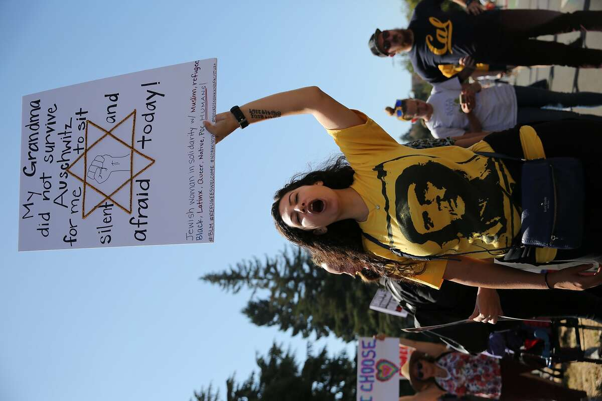 Rose Fried yells out in protest of an alt- right protest that is scheduled to happen at Civic Center on Oxford Street outside UC Berkeley in Berkeley, Calif., on Sunday, August 27th, 2017.