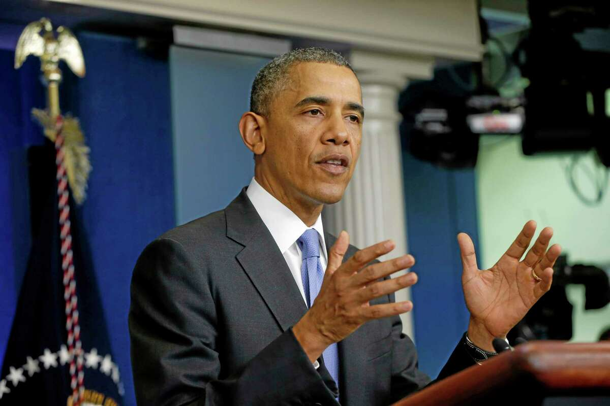 President Barack Obama speaks to reporters in the Brady Press Briefing Room of the White House in Washington, Wednesday, May 21, 2014, after he met with Veterans Affairs Secretary Eric Shinseki and Deputy Chief of Staff Rob Nabors. The president said Veterans Affairs Secretary Eric Shinseki has put his