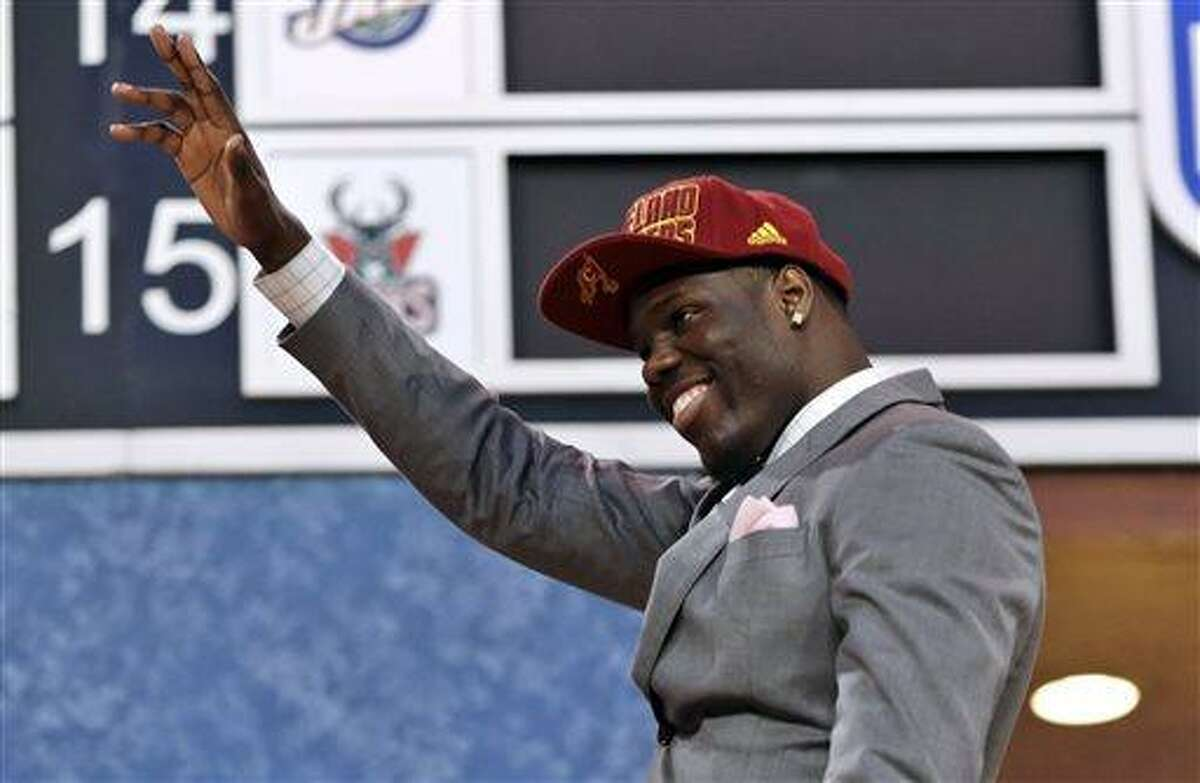 UNLV's Anthony Bennett waves after being selected first overall by the Cleveland Cavaliers in theNBA basketball draft, Thursday, June 27, 2013, in New York. (AP Photo/Kathy Willens)