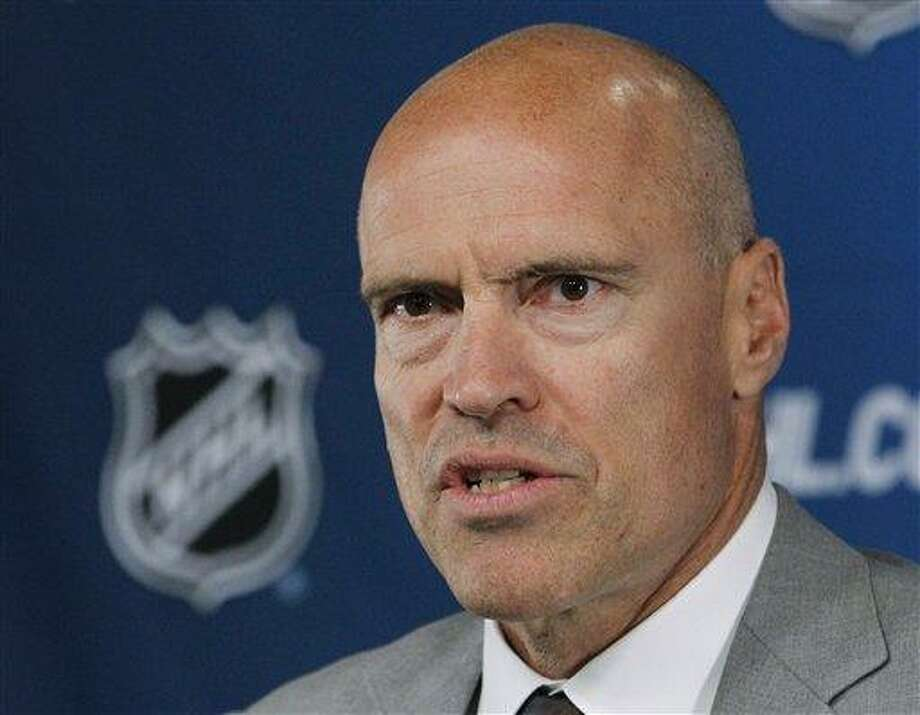 Mark Messier speaks during a news conference before Game 3 of the NHL hockey Stanley Cup Finals between the Vancouver Canucks and Boston Bruins, Monday, June 6, 2011, in Boston. (AP Photo/Elise Amendola) Photo: AP / AP