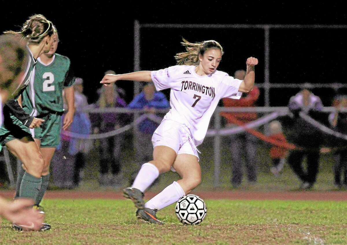 Marianne Killackey — Special to Register Citizen Torrington's Taylor Pestritto attemps to advance the ball in a game earlier this season.