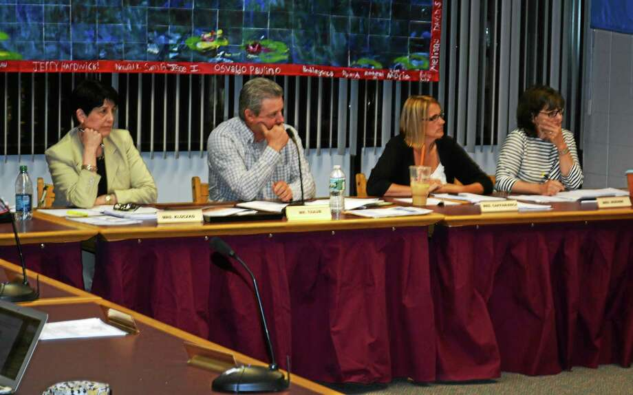 Members of the Torrington Board of Education during a meeting Wednesday. Photo: Isaac Avilucea — The Register Citizen