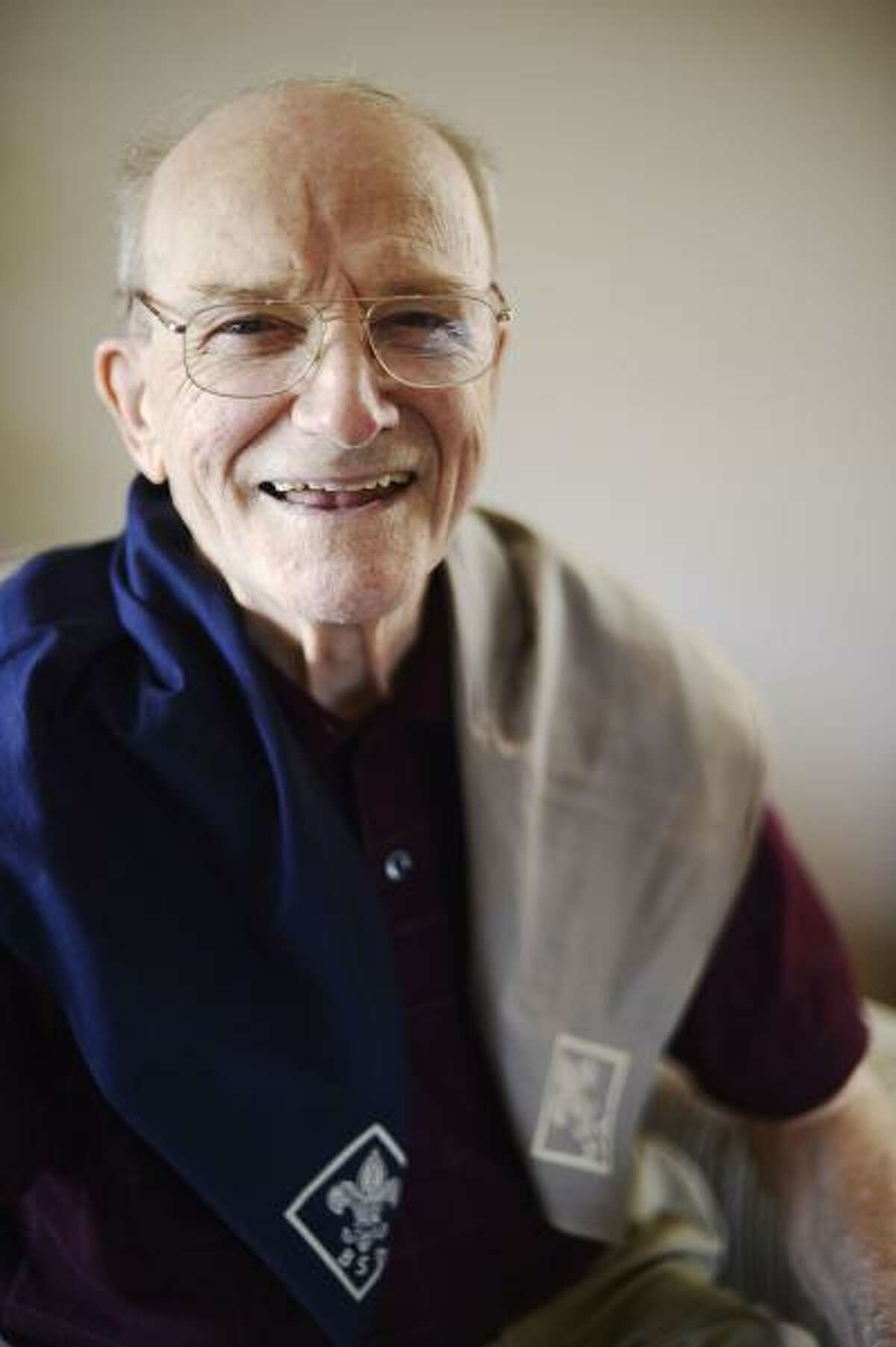 Richard D. Kohler poses wearing the Boy Scout kerchief given to him in 1938, when he helped a Civil War veteran during the 75th anniversary at Gettysburg.