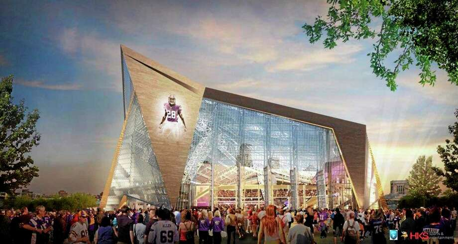 This file handout released May 13, 2013, by the Minnesota Sports Facilities Authority and the Minnesota Vikings shows a rendering of the new Vikings stadium. Minneapolis has been awarded the 2018 Super Bowl by NFL owners. The owners rewarded the Vikings for arranging to build a new stadium on the site of the old Metrodome by choosing Minneapolis over New Orleans and Indianapolis. Photo: The Associated Press File Photo  / Minnesota Sports Facilities Authority/Minnesota Vikings