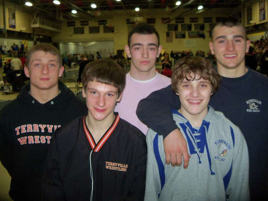 Berkshire League Class S finalists, from left to right, Avery Ellegard and Elliott Wilion of Terryville; Rigon Gilani of Thomaston; Kieran Duggan and John D'Agaostino of Nonnewaug.