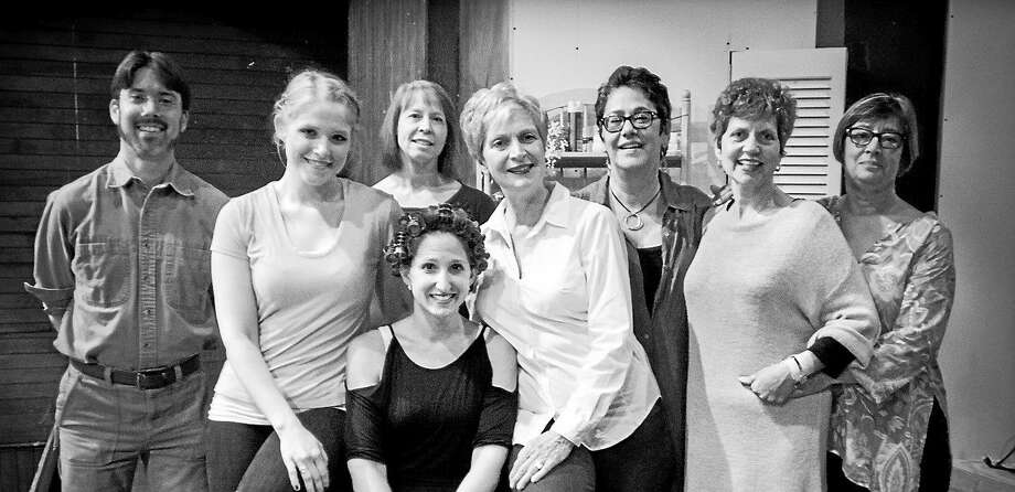 "Photo courtesy of Lydia Babbit  The cast of ""Steel Magnolias"" pause during rehearsal in anticipation of the Goshen Players' performances of the play at the Old Goshen Town Hall.  The show opens Oct. 10. Photo: Journal Register Co."