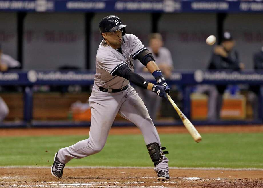 The New York Yankees' Martin Prado singles off Tampa Bay Rays pitcher Alex Colome during Monday's game in St. Petersburg, Fla. Photo: Chris O'Meara — The Associated Press  / AP