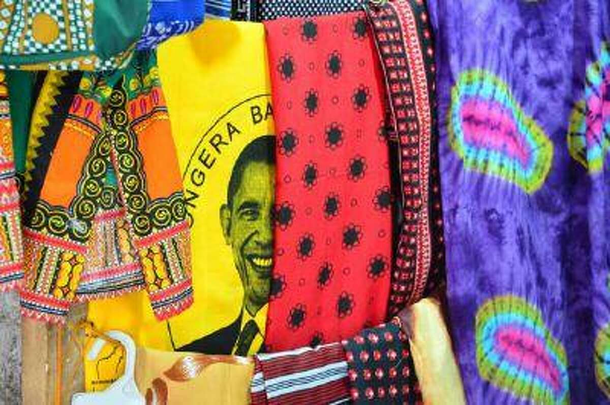 Fabrics with the head of US President Barak Obama are displayed in Stone Town in Zanzibar on January 7, 2013.