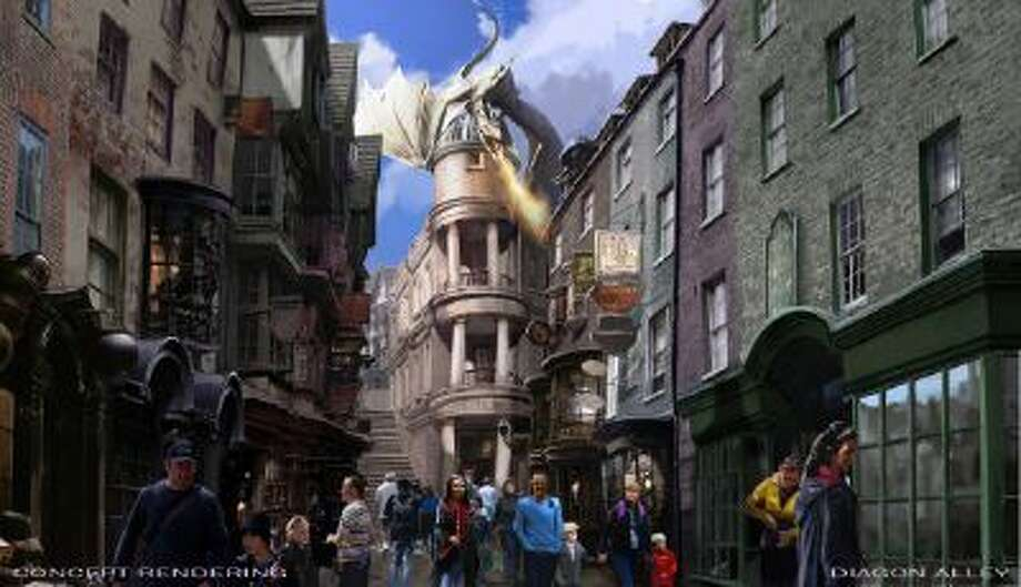 An artist rendering of The Wizarding World of Harry Potter -- Diagon Alley to open at Universal Orlando Resort this summer.