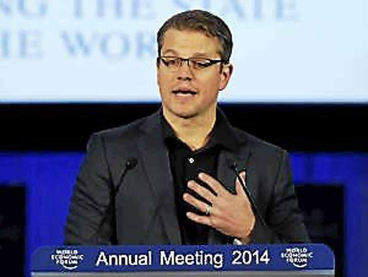 American actor Matt Damon speaks during the Crystal award ceremony at the eve of the opening of the World Economic Forum in Davos, Switzerland Jan. 21, 2014.