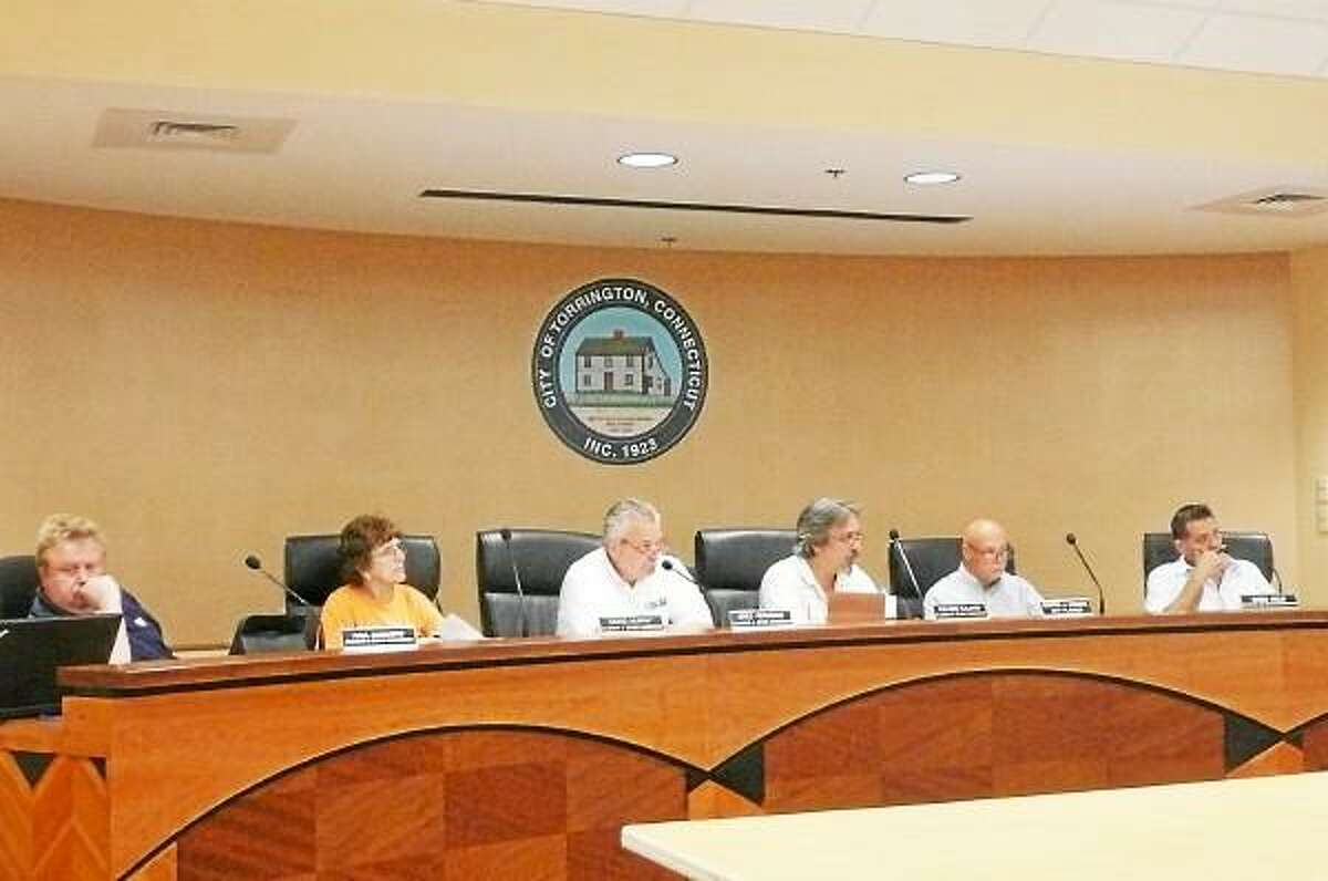 The Torrington Planning and Zoning Commission listens to a presentation for the signage and the façade of Joann Fabrics, whose plans to open a new store in the city were approved Wednesday. (Kate Hartman-Register Citizen)