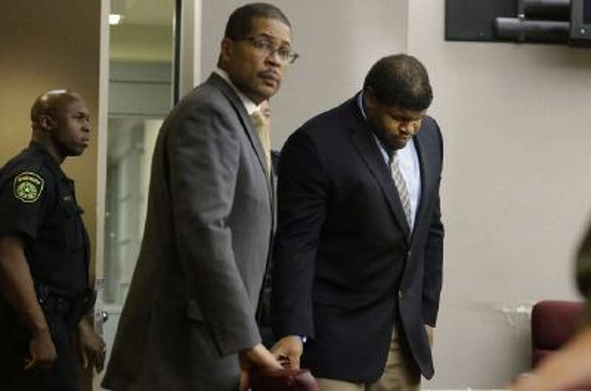 Josh Brent, center, former Dallas Cowboys was sentenced to 180 days in jail and 10 years probation Friday.