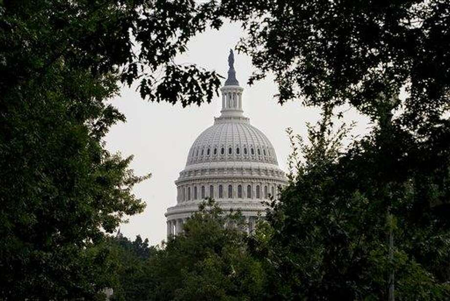The dome of the Capitol is framed through dense summer foliage, in Washington, Tuesday, July 29, 2008.  (AP Photo/J. Scott Applewhite) Photo: ASSOCIATED PRESS / AP2008