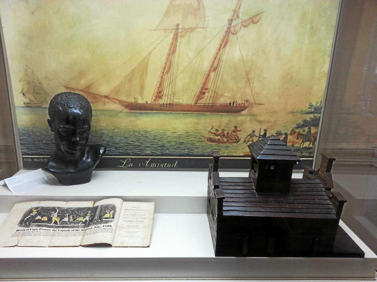 A small model of the fort at Harpers Ferry made at the turn of the 19th century and a painting of the Amistad, a ship carrying African slaves, are part of a new exhibit at the Old State House.