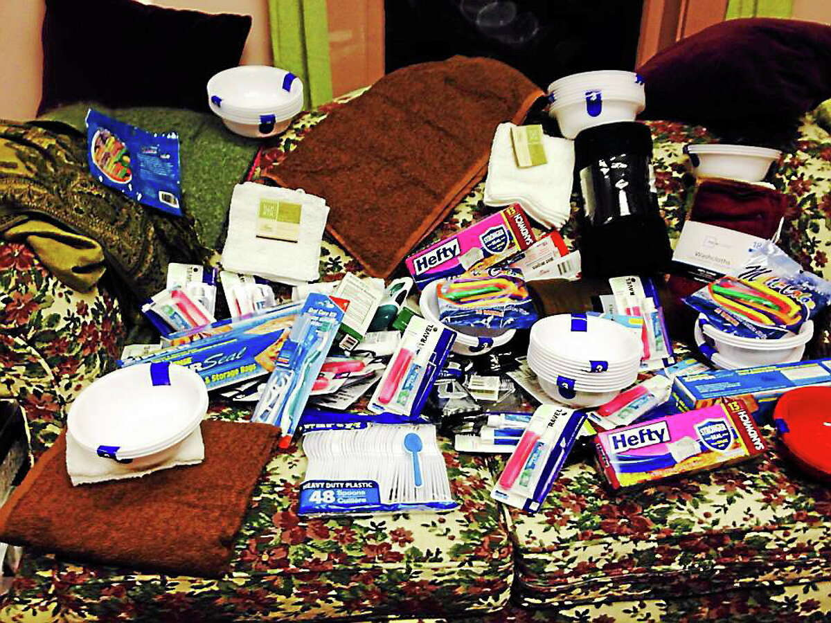 A sample of what Dawn Hill collected at her Water Street studio for the homeless kit drive.